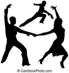 Latino Dance Silhouettes 07 - detailed illustrations