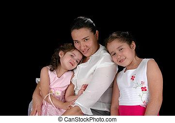 latino, figlie, madre