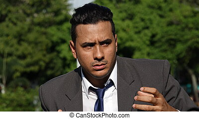 latino, homme affaires, et, confusion