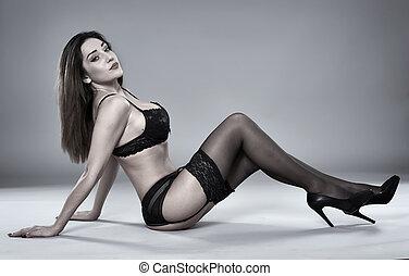 Latino lingerie model