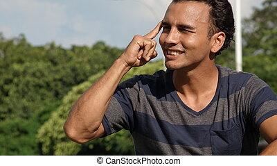 Latino Male Thinking