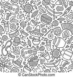 latino, messicano, modello, americano, seamless, hand-drawn, cartone animato