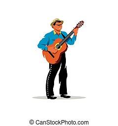 Clipartby PandaVector0 0 Latino Musician With Guitar Vector Cartoon Illustration
