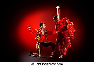 latino pair - Professional dancers perform latino dance....