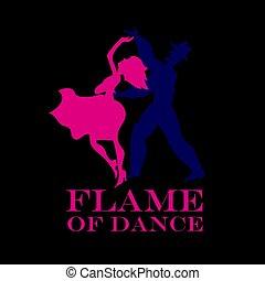 latino, poster., ballo, ballo, coppia, illustrazione, vettore, sfondo nero, salsa