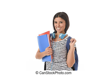 latino, presa a terra, ragazza, zaino, blocco note, cartella, portante, studente, trendy, sorridente, libro, felice