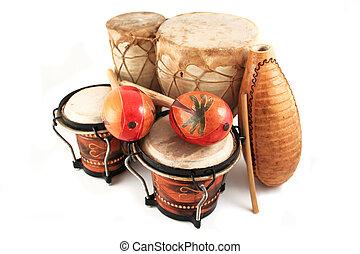latino, ritmo, strumenti