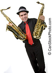 Latino Saxophone Player Isolated on
