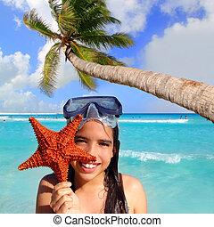 latino, turista, starfish, tropicale, presa a terra, ragazza...