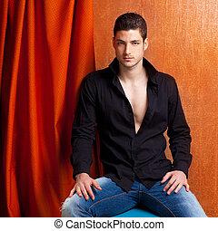 latinsk, skjorte, sort, spansk, portræt, åbn, mand