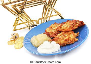 Latkes Menorah Dreidel and Gelt for Hanukkah