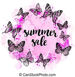 lato, abstrakcyjny, tło, z, motyle