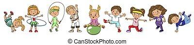 lato, activity., wektor, interpretacja, wiosna, dzieci, sports.