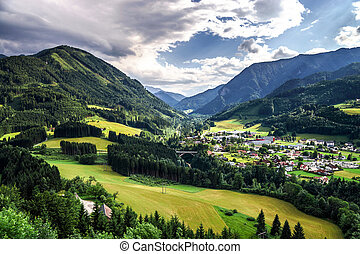 lato, austria, shtiria, góry