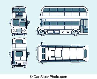 lato, autobus, indietro, cima, linea, double-decker, stile, fronte, rosso, vista