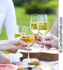 lato, biały, piknik, wino