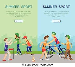 lato, chorągwie, sport, dwa