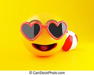 lato, concept., urlop, sunglasses., 3d, emoji