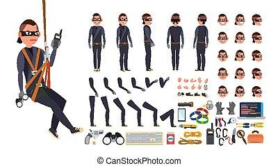 lato, creazione, equipment., indietro, mask., vista, attrezzi, hacker, set., carattere, isolato, gestures., pose, accessori, nero, vector., appartamento, pieno, illustrazione, ladro, emozioni, faccia, lunghezza, animato, fronte