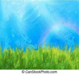 lato, daubs, tło, malować