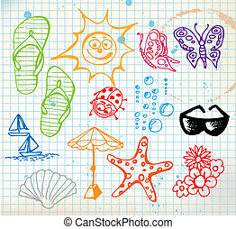 lato, elementy, doodle