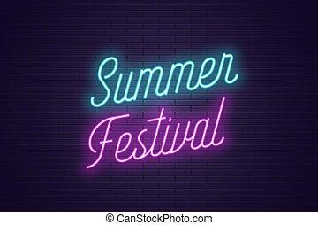 lato, festival., tytuł, tekst, neon, jarzący się
