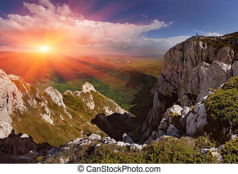 lato, góry., wschód słońca, krajobraz