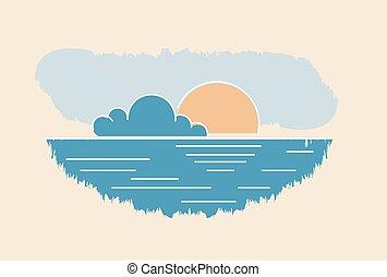 lato, illustration., drawing., słońce, abstrakcyjny, wektor, zachód słońca seascape, chmura