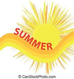 lato, illustration., słońce, odizolowany, tło., wektor, tekst, biały