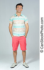 lato, jego, chodzi, barwny, shirt., odprężony, pocket., 30s., siła robocza, spokój, człowiek, brazylijczyk, samiec, przystojny