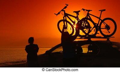 lato, jego, wóz, urlop, rowery, podróżnicy, konny, plaża