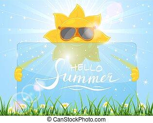 lato, karta, tło, słońce