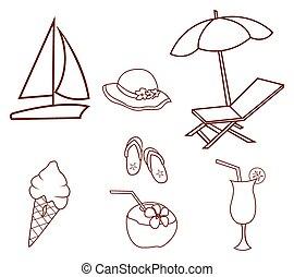 lato, koło, chorągiew, doodle