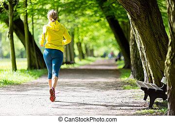 lato, kobieta, biegacz, park, wyścigi, jogging