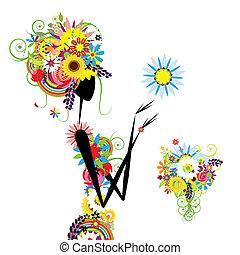 lato, kobieta, bukiet, projektować, kwiatowy, twój