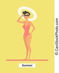 lato, kobieta, luxary, podróż, bikini, godny szacunku, holidays., plaża., rest., czerwony