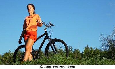 lato, kobieta, rower, pole