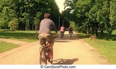 lato, kolarstwo, road., ludzie, nieznany, park, strzał, wzdłuż, podróżowanie