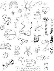 lato, komplet, doodle, ręka, wektor, pociągnięty, plaża