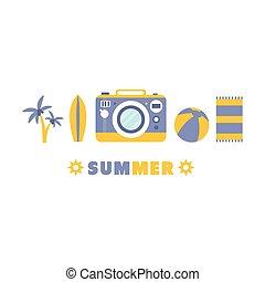 lato, komplet, ferie, symbolika, piątka, kreska, plaża