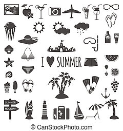 lato, komplet, icons., płaski