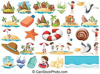 lato, komplet, plaża, zbiór