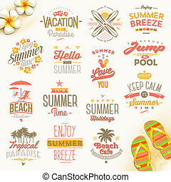 lato, komplet, podróż, urlop, ferie, wektor, projektować, typ