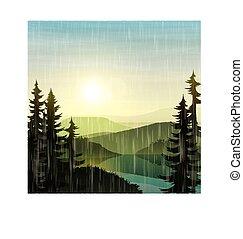 lato, krajobraz, rain., pochmurny, natura