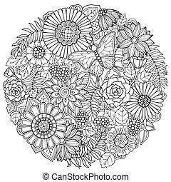 lato, kwiat, sztuka, doodle, ozdoba, ręka, tło., mandala., czarnoskóry, kwiatowy, pociągnięty, koło, biały, butterfly.