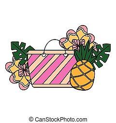 lato, kwiat, tropikalny, torba, ananas, plaża