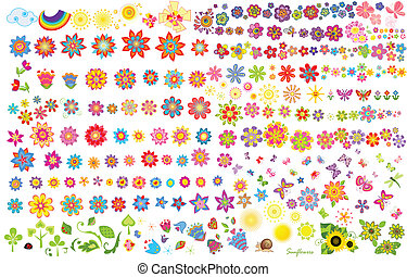 lato, kwiaty, słońce, i, motyle