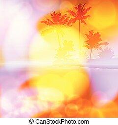 lato, lekki, drzewo, soczewka, dłoń, morze, zachód słońca
