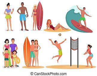lato, ludzie, collection., set., urlop, ferie, pary, czynny, sport, plaża