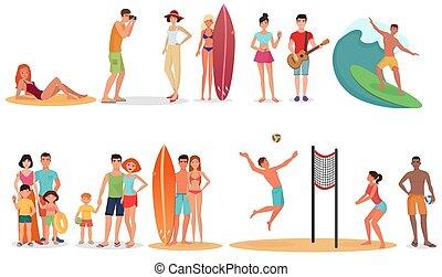 lato, ludzie, collection., set., urlop, ferie, pary, plaża